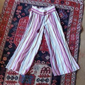 Multicolored Wide, Split Leg Linen Pants